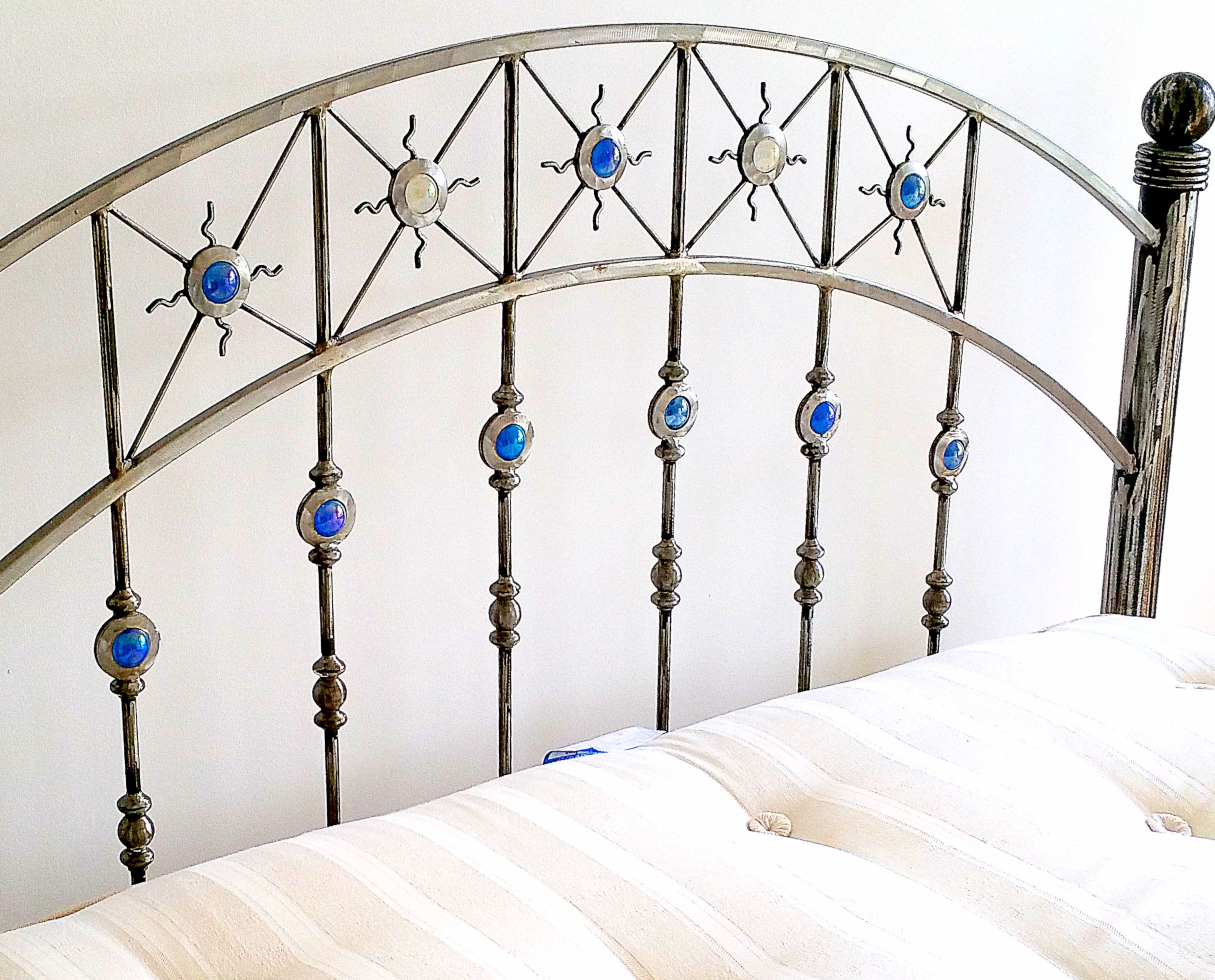 Handmade metal bed ,with  glass balls