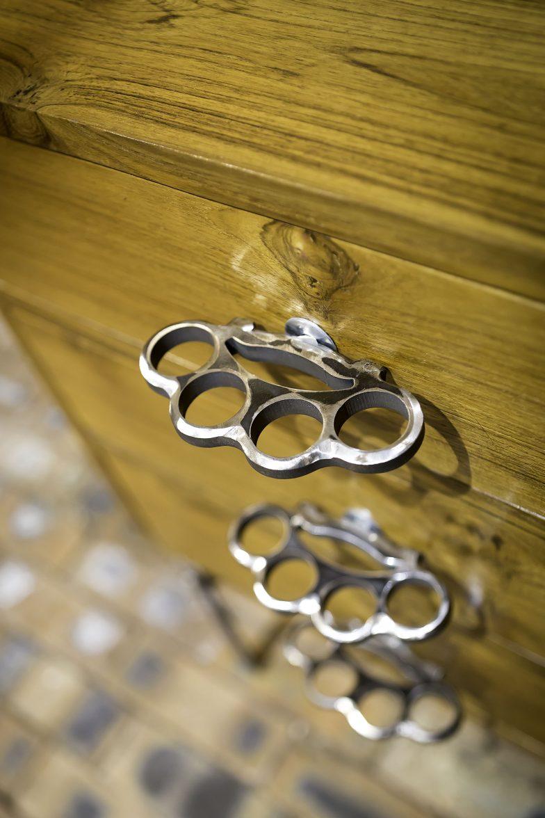 Teak, handmade, 3 drawer side table.