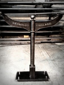 Industrial style console table.