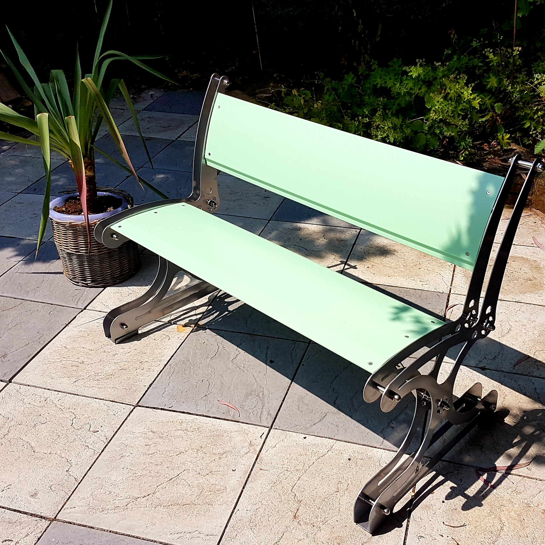 Aero Bench. New 'Crossrail Elizabeth line' pastel colours for you. Exclusive garden furniture.